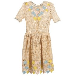 material Women Short Dresses Manoush ROSES Ecru