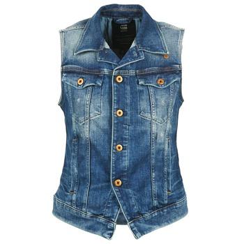 material Women Denim jackets G-Star Raw 3302 JKT S/LESS WMN Blue / Clear