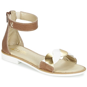 Shoes Girl Sandals Citrouille et Compagnie MINIMAZA CAMEL / GOLD