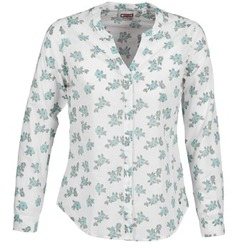 material Women Shirts Mustang FLOWER BLOUSE White / Blue