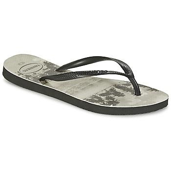 Shoes Women Flip flops Havaianas SLIM PHOTOPRINT Black / Grey