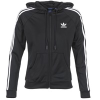 material Women Jackets adidas Originals SLIM FZ HOODIE Black