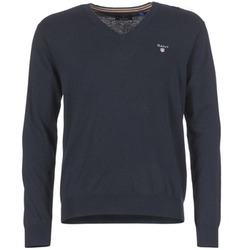 material Men jumpers Gant COTTON WOOL V-NECK MARINE