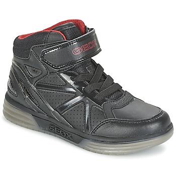 Shoes Boy High top trainers Geox ARGONAT BOY Black / Red