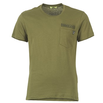 material Men short-sleeved t-shirts Versace Jeans PATCH POCKET TIGER Kaki