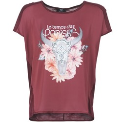 material Women short-sleeved t-shirts Le Temps des Cerises CRANEFLO BORDEAUX