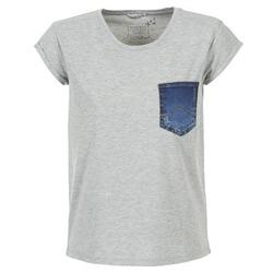 material Women short-sleeved t-shirts Mustang SLV DENIM POCKET Grey
