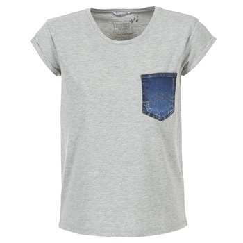 material Women short-sleeved t-shirts Mustang SLV DENIM POCKET Grey