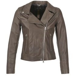 material Women Leather jackets / Imitation le Oakwood 62049 Grey / Clear