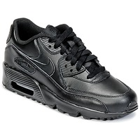 Shoes Boy Low top trainers Nike AIR MAX 90 LEATHER GRADE SCHOOL Black