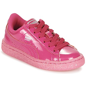 Shoes Girl Low top trainers Puma BASKET PATENT ICED GLITTER PS Pink