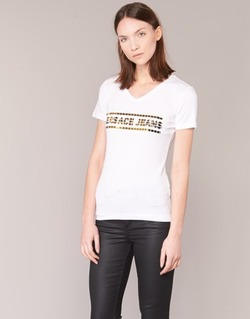 material Women short-sleeved t-shirts Versace Jeans B2HPA7GC White