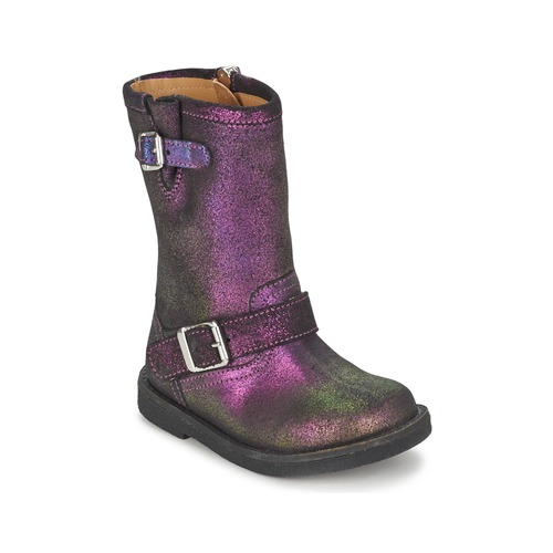 Shoes Girl Boots Pom d'Api HIKE BIKER Violet