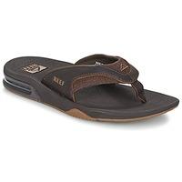 Shoes Men Flip flops Reef LEATHER FANNING Brown