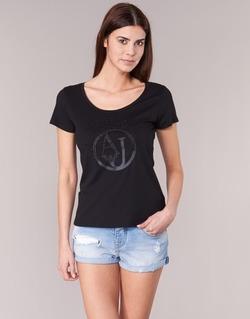 material Women short-sleeved t-shirts Armani jeans LASSERO Black