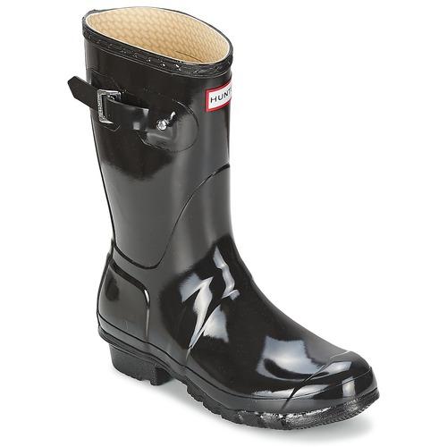 Shoes Women Wellington boots Hunter WOMEN'S ORIGINAL SHORT GLOSS Black