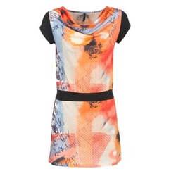 material Women Short Dresses Smash CITRON Orange / Black