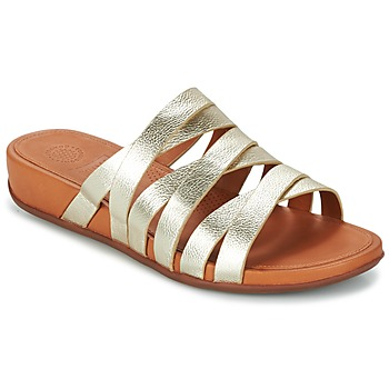 Shoes Women Mules FitFlop LUMY LEATHER SLIDE Gold