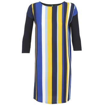 material Women Short Dresses Benetton VAGODA Blue / Yellow / White