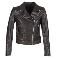 material Women Leather jackets / Imitation le Benetton FAJOLI Black