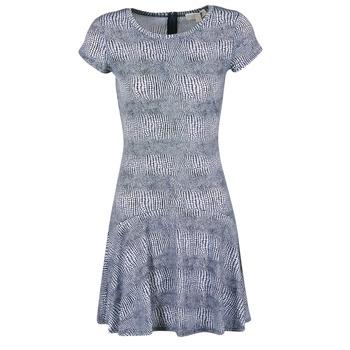 material Women Short Dresses MICHAEL Michael Kors ZEPHYR SS FLARE DRS Blue / White