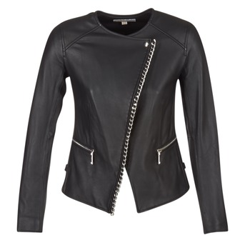 material Women Leather jackets / Imitation le MICHAEL Michael Kors CHAIN FRONT BIKER Black