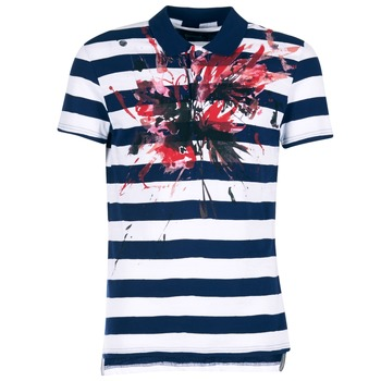 material Men short-sleeved polo shirts Desigual RELIRA White / Marine / Red