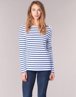 material Women Long sleeved shirts Petit Bateau FIX White / Blue
