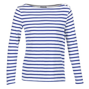 material Women Long sleeved shirts Petit Bateau FIX White / Blue