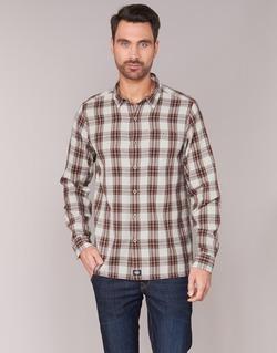 material Men long-sleeved shirts Dickies HARRELL White / Brown