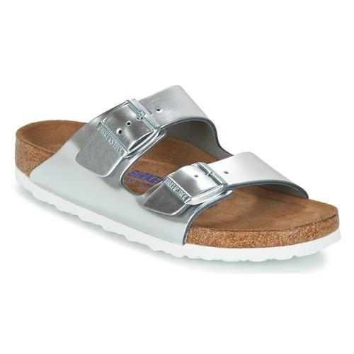 Shoes Women Mules Birkenstock ARIZONA SFB Silver