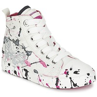 Shoes Girl High top trainers Geox J CIAK G. C White / Pink