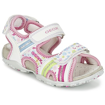 Shoes Girl Sports sandals Geox J S.ROXANNE A White / Pink
