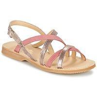 Shoes Girl Sandals Citrouille et Compagnie GENTOU Pink / Silver