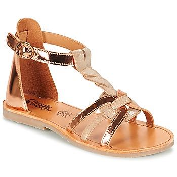 Shoes Girl Sandals Citrouille et Compagnie GITANOLO Beige / Coppery