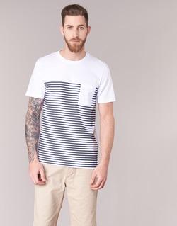 material Men short-sleeved t-shirts Jack & Jones APRIL CORE White / MARINE