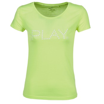 material Women short-sleeved t-shirts Only Play BASIC Yellow