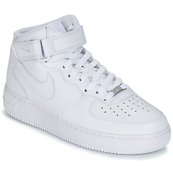 Shoes Men High top trainers Nike AIR FORCE 1 MID 07 LEATHER White