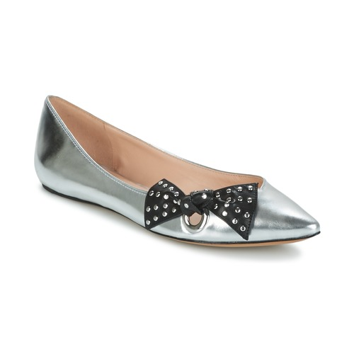 Latest Marc Jacobs Rita Pointy Toe Flat Shoes Silver For Women Outlet UK
