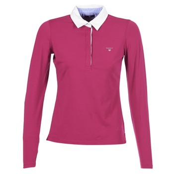 material Women long-sleeved polo shirts Gant SOLID JERSEY LS RUGGER Pink