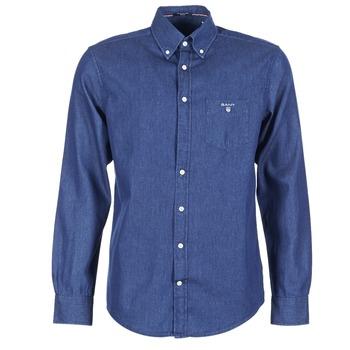 material Men long-sleeved shirts Gant THE INDIGO SHIRT Blue