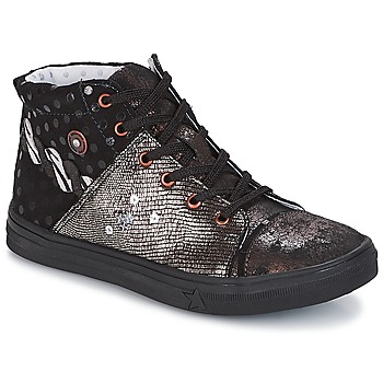Shoes Girl Mid boots Catimini ROUSSEROLLE Black / Silver