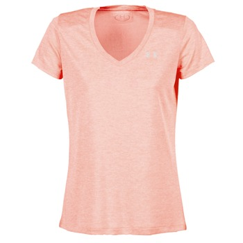 material Women short-sleeved t-shirts Under Armour TECH SSV - TWIST Coral