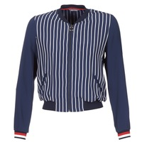 material Women Jackets   Blazers Tommy Hilfiger NALOME GLOBAL STP BOMBER  Marine   White   Red d13328f8f318