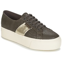 Shoes Women Low top trainers Superga 2790 PU SNAKE W Brown