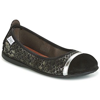 Shoes Girl Ballerinas Citrouille et Compagnie HILETTE Black / Silver