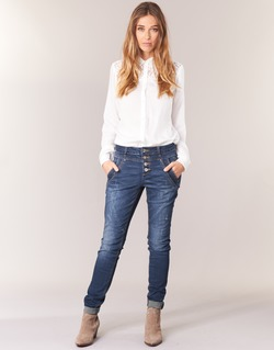 material Women straight jeans Cream NYNNE JEANS BAILEY FIT Blue