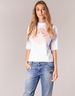 material Women short-sleeved t-shirts Converse SATIN CP MOCK NECK TEE White