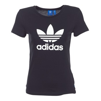 material Women short-sleeved t-shirts adidas Originals TREFOIL TEE Black