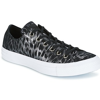 Shoes Women Low top trainers Converse CHUCK TAYLOR ALL STAR SHIMMER SUEDE OX BLACK/BLACK/WHITE Black / White